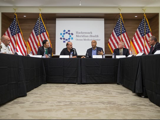 Sen. Cory Booker (D-NJ) attends a roundtable discussion