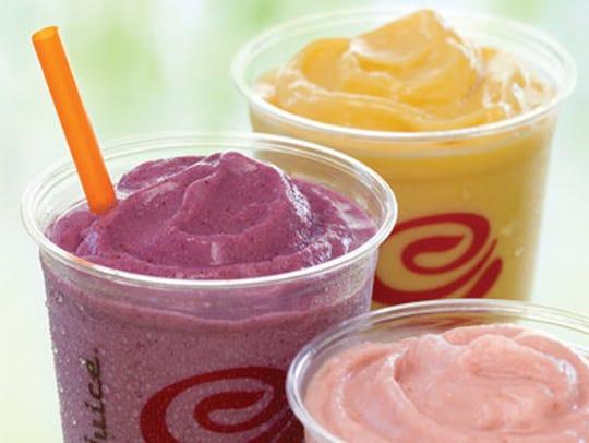 Jamba Juice smoothies: Berry Blend, Strawberry Raspberry
