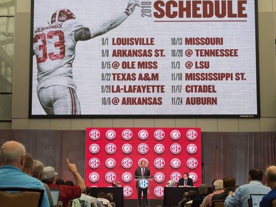 Alabama head coach Nick Saban talks to the press during