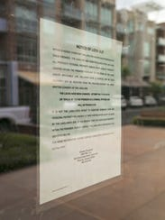 A notice of landlord lockout was posted on the front