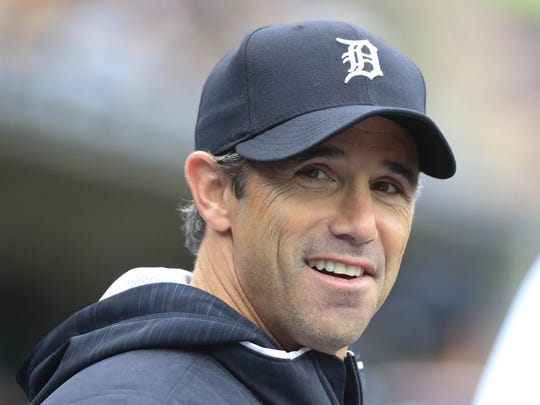 Tigers manager Brad Ausmus in the dugout during the seventh inning April 29, 2017 at Comerica Park.