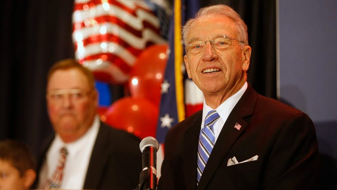 Sen. Chuck Grassley speaks Tuesday, Nov. 8, 2016, during the Republican Election Night Party in downtown Des Moines.