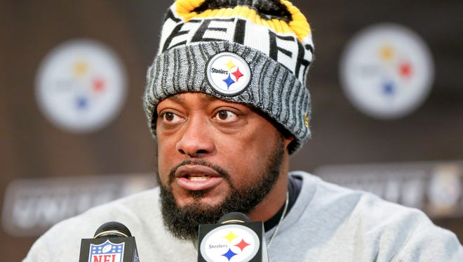 Pittsburgh Steelers head coach Mike Tomlin takes questions during the news conference after an NFL football game against the Cleveland Browns, Sunday, Dec. 31, 2017, in Pittsburgh. The STeelers won 28-24.