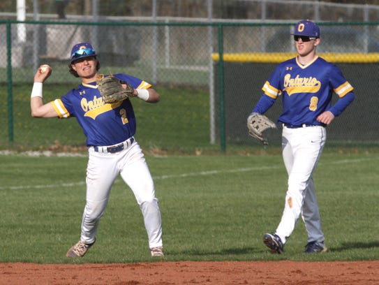 Ontario's Avery Fisher throws to first base while playing
