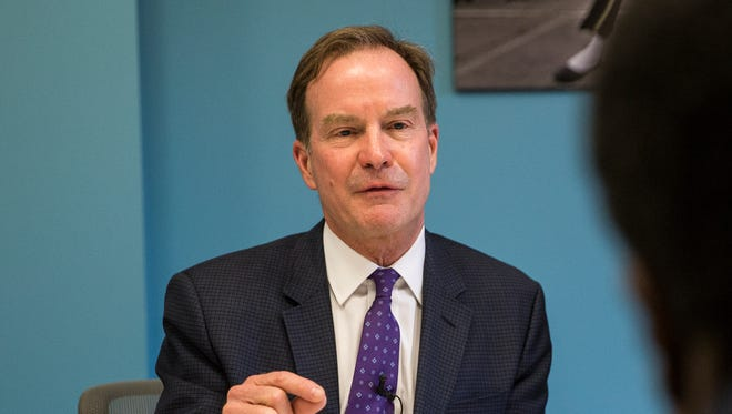 Bill Schuette, Michigan Attorney General, answers a question during an interview at the Detroit Free Press office in downtown Detroit, Thursday, June 15, 2017.