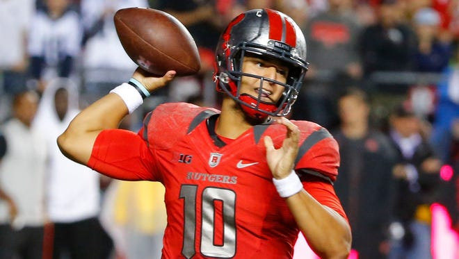 Rutgers quarterback Gary Nova throws a pass during the second half against Penn State at High Points Solutions Stadium in September.