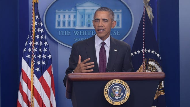 President Obama speaks at the White House after a shooting at a community college in Oregon in the Brady Briefing Room of the White House on October 1, 2015.