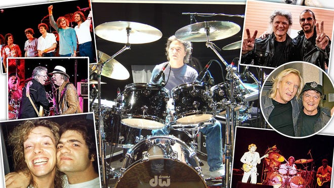 Canton-based drummer Joe Vitale (center), pictured with (clockwise, from top left), The Eagles in 1980, Ringo Starr, Joe Walsh, Joe Walsh in 1975, Peter Frampton and Buffalo Springfield.