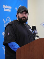 Lions head coach Matt Patricia answers questions Thursday in Allen Park about a dismissed sexual assault case from 1996.