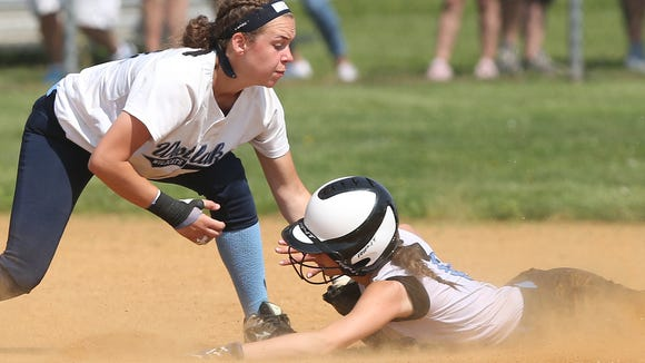Westlake's Laine Peterson tags out Rye Neck's Sam Yanuzzi at second on a stolen base attempt during the Section 1 championship game at North Rockland High School May 26, 2018. Westlake won the game 3-0.