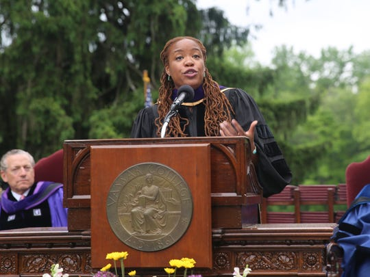 Heather McGhee, the leader of the public policy organization Demos, delivers the commencement address on Sunday. Her speech focused on overcoming differences.