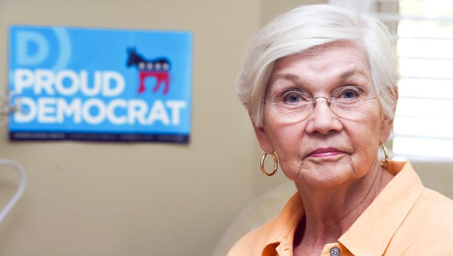 Hillary Clinton for President supporter Helen McAllister Tews is pictured Nov. 2, 2016, at home in West Knoxville. A naturalized citizen originally from Brazil, Tews said this year is the first she's worked in a campaign.