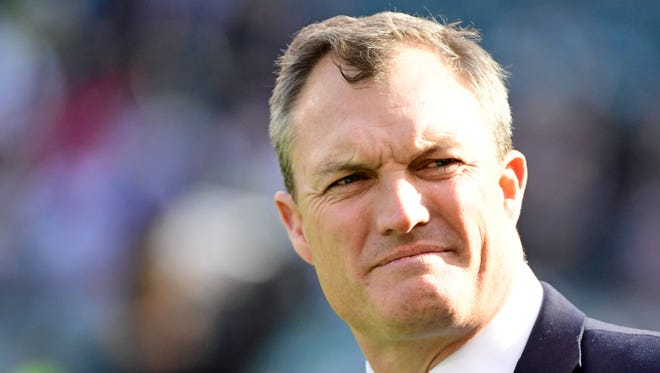 Fox Sports announcer and former NFL player John Lynch on the sidelines before game between Philadelphia Eagles and Dallas Cowboys  at Lincoln Financial Field.