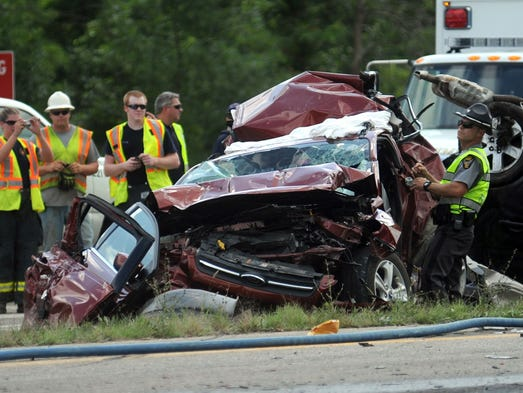 Two people were killed and three injured in a four-vehicle crash at U.S. 23 and Ohio 229 at about 11:30 a.m. Wednesday, Aug. 20, 2014.