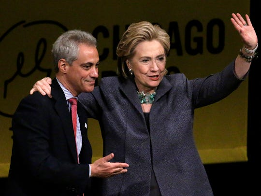 Hillary Rodham Clinton, accompanied by Chicago Mayor