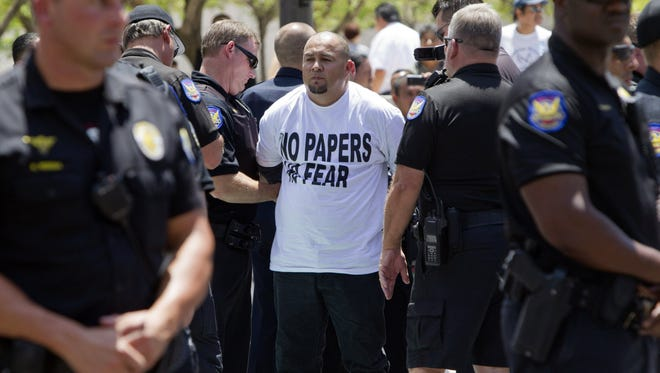 Miguel Guerra, from Mexicali, Baja California Norte, Mexico, was arrested by Phoenix police in 2012 after blocking on intersection during Sheriff Joe Arpaio's racial-profiling trial.