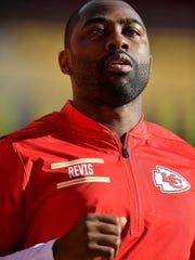 Kansas City Chiefs defensive back Darrelle Revis (24) jogs before an NFL football game against the Buffalo Bills in Kansas City, Mo., Sunday, Nov. 26, 2017. The Chiefs signed Revis to help them the rest of the season. He should certainly be able to help this week considering the opponent is his most recent team. (David Elite/The Kansas City Star via AP)