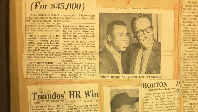 A page from the Willie Horton scrapbook is part of the Ernie Harwell collection of sports memorabilia available at the Detroit Public Library.