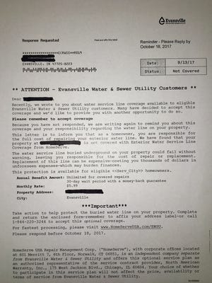 An Evansville Water and Sewer Utility letter advertising private water service line coverage.