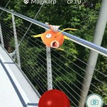 Magikarp spotted on the Liberty Bridge in Greenville's Falls Park (via Pokémon GO game).