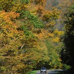 Visitors to the Blue Ridge Parkway take-in fall colors at higher elevations near Craggy Gardens north of Asheville Thursday morning.