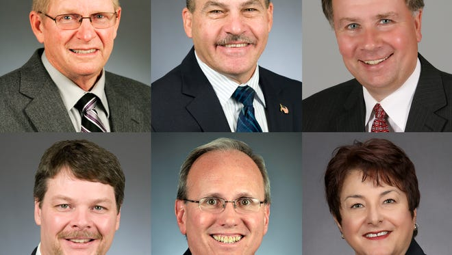 Area state legislators, top row from left to right: Paul Anderson, Jeff Howe, Jim Knoblach. Bottom row: Jim Newberger, Tim O'Driscoll, Tama Theis.