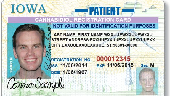 This is a mock-up of a new card that the Iowa Department of Transportation will issue to people who have official permission to possess marijuana extract to treat epilepsy.
