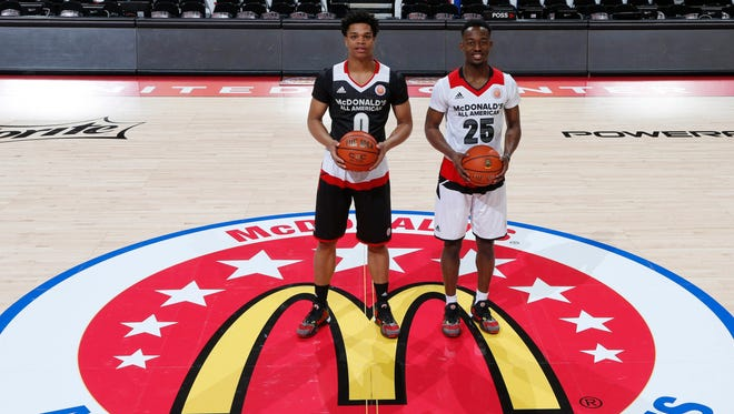 Future Spartans Miles Bridges, left, and Joshua Langford, right, pose before the McDonald's All-American game. They hoped a third McDonald's All-American would join their class, but Josh Jackson announced Monday that he'll attend Kansas.