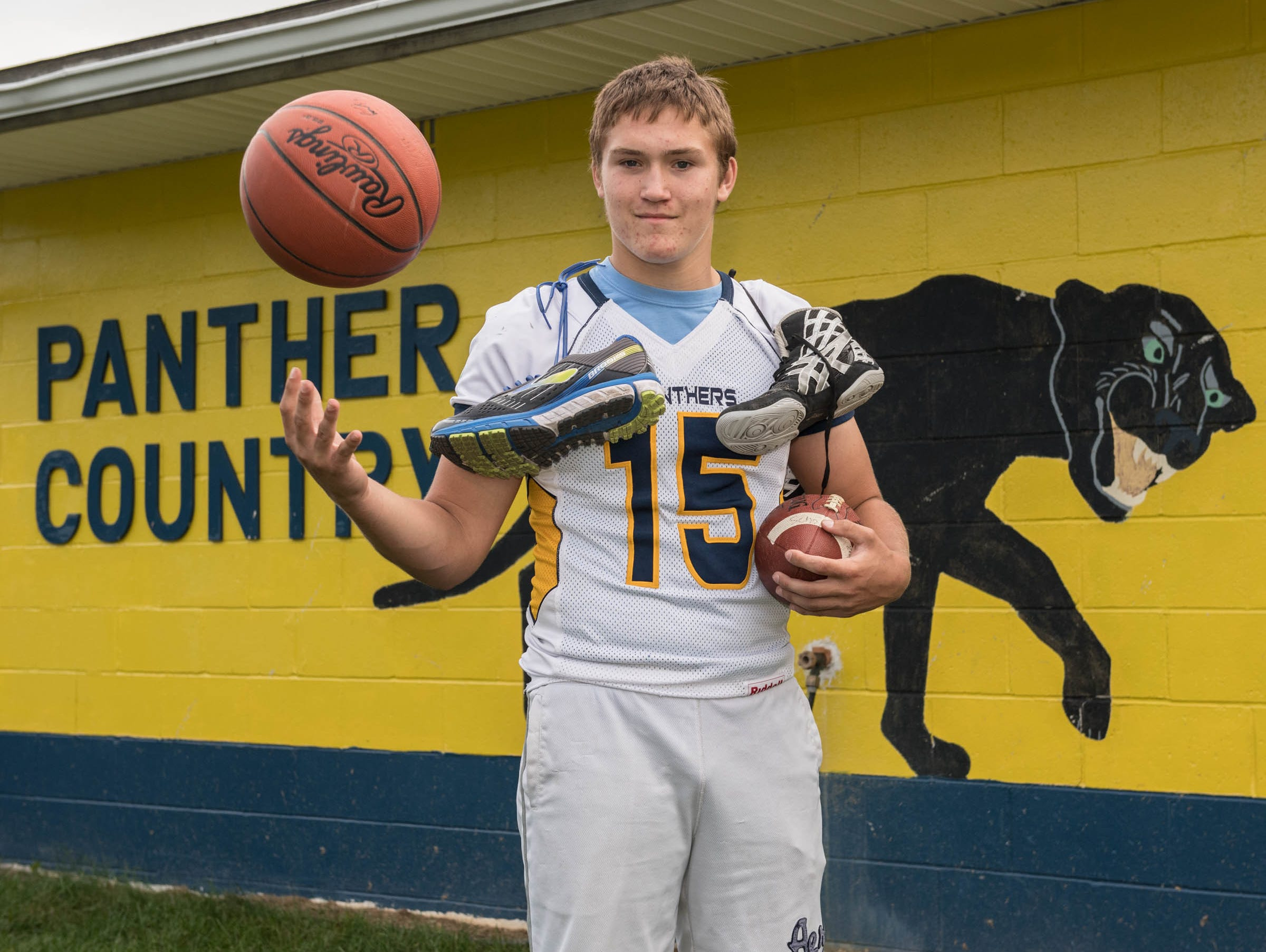 Zach Scholly of Climax-Scotts plays six varsity sports during the school year, including football, cross country, basketball, wrestling, track and golf.