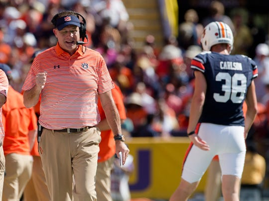 Auburn head coach Gus Malzahn celebrates a after an Auburn touchdown during the NCAA football game between Auburn and LSU on Saturday, Oct. 14, 2017, at Tiger Stadium in Baton Rouge, La.