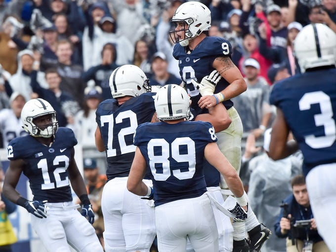 Penn State's Trace McSorley (9) celebrates after scoring
