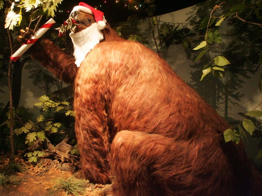 """The University of Iowa's Museum of Natural History features a replica of an ancient giant sloth, which is nicknamed """"Rusty."""" The exhibit is often adorned with decorations to match the season. Photo taken Thursday, Dec. 13, 2007."""