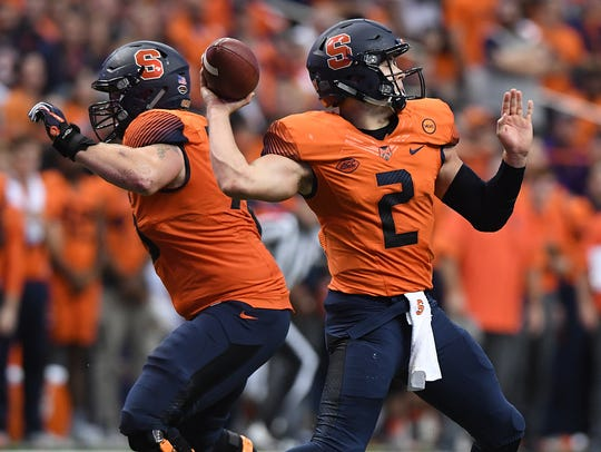 Syracuse quarterback Eric Dungey (2) passes against