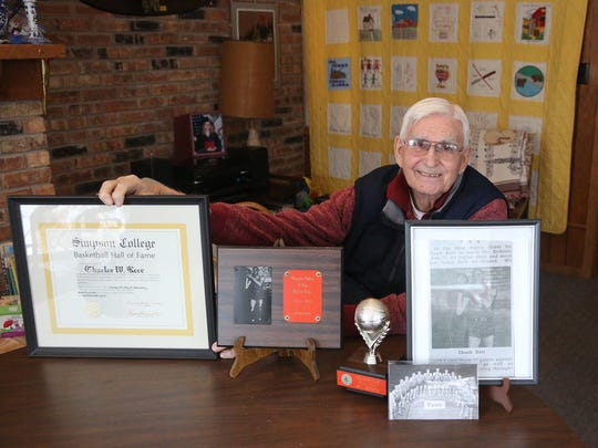 Chuck Kerr, who starred for the Simpson College basketball team in the 1950s, got help celebrating his 90th birthday from 1995 Simpson graduate Chad Buchanan, the general manager of the Indiana Pacers.