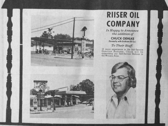 Oct. 29, 1977 - Riiser Oil Company welcomes Chuck Oehlke to the staff. He formerly worked at Erickson Oil.
