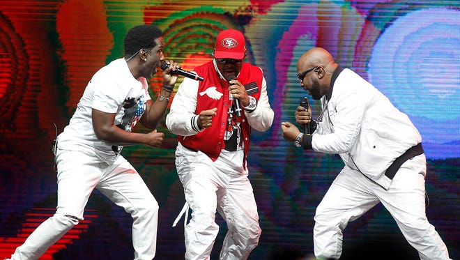 Boyz II Men perform during The Total Package Tour with New Kids on the Block and Paula Abdul at Talking Stick Resort Arena in Phoenix on Friday, May 26, 2017.
