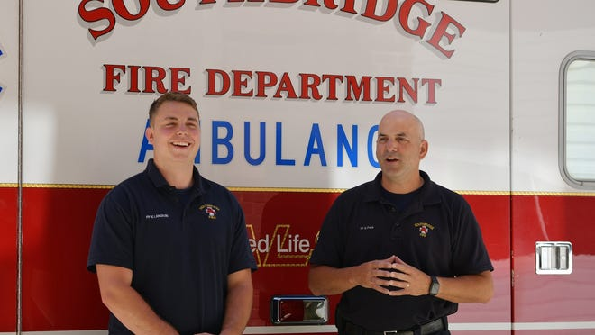 Firefighter/EMT, Matt Langevin, left, and Firefighter/Paramedic Gary Peck on Thursday recounted their experience delivering a baby along Route 20 on Monday.