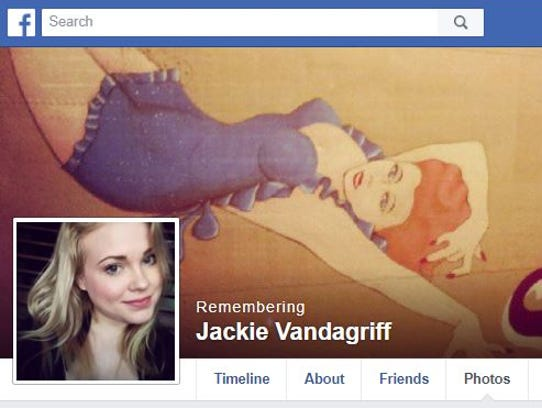A screengrab of a memorial page for Jacqueline Vandagriff,