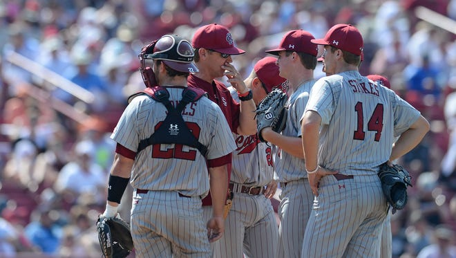 South Carolina pitching coach Jerry Meyers, shown during a 2016 game, is taking an indefinite leave of absence the school said Friday.