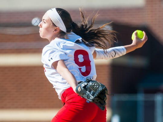 Delsea pitcher Anastasia Reale (9) throws to a Gloucester