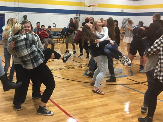 Appleton North High School students play an ice-breaking
