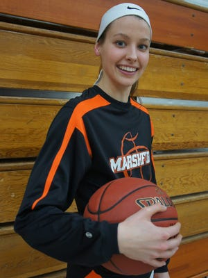 Marshfield junior Ema Fehrenbach is the Tigers' leading scorer, averaging 16.2 points per game. The team is 11-1 and 4-0 in the WVC.