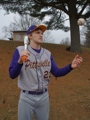 Pittsville junior Aiden Masanz is an upperclassmen on this year's baseball team.