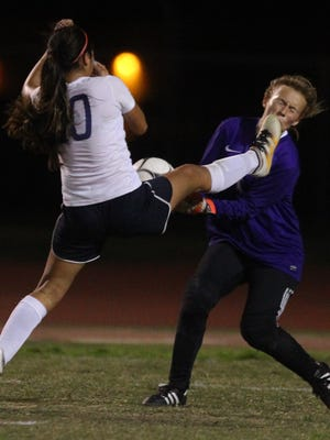Monica Calderon of La Quinta High School girls' soccer team is unable to reach the ball late in the second half against Paloma Valley High School during their second round CIF game at La Quinta on February 21, 2017. La Quinta lost 0-1.