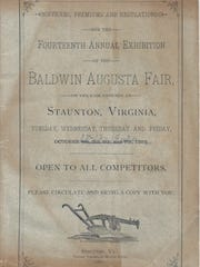 The cover from the 1881 catalog from the 14th Annual Baldwin Augusta Fair.