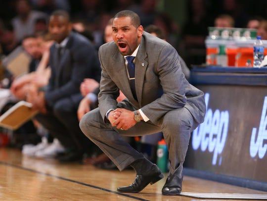Butler Bulldogs head coach LaVall Jordan reacts against