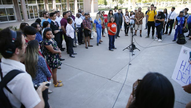 Karina Ruiz of the Arizona Dream Act Coalition speaks during a rally at the Arizona Capitol in Phoenix on April 9, 2018. The state Supreme Court denied in-state tuition for DACA recipients.