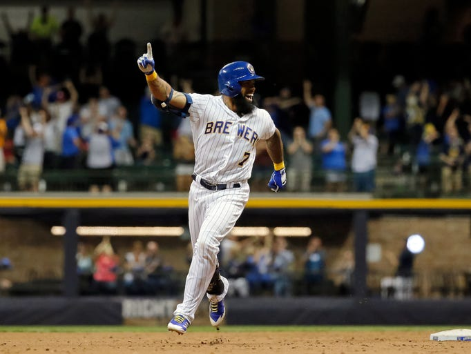 June 16: Eric Thames rounds the bases after his first