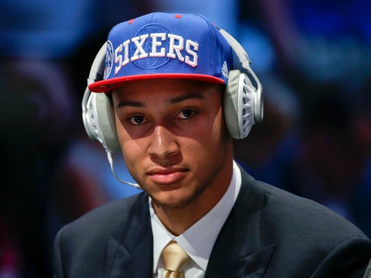 Ben Simmons answers questions during an interview after being selected as the number one pick overall by the Philadelphia 76ers during the NBA basketball draft, Thursday, June 23, 2016, in New York. (AP Photo/Frank Franklin II)