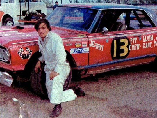 "Jerry ""The Kid"" Jonet with his Chevelle stock car at"